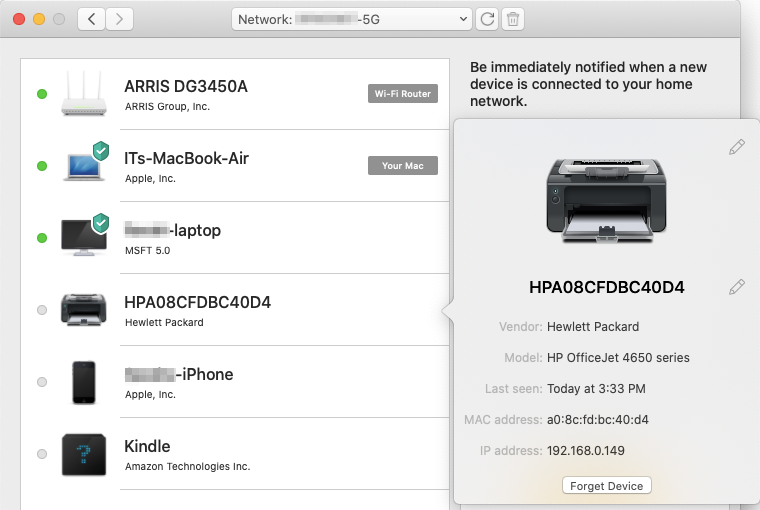 Information about a device connected to your network includes its MAC address, which you can use to kick the device off the network and block it in your router's settings