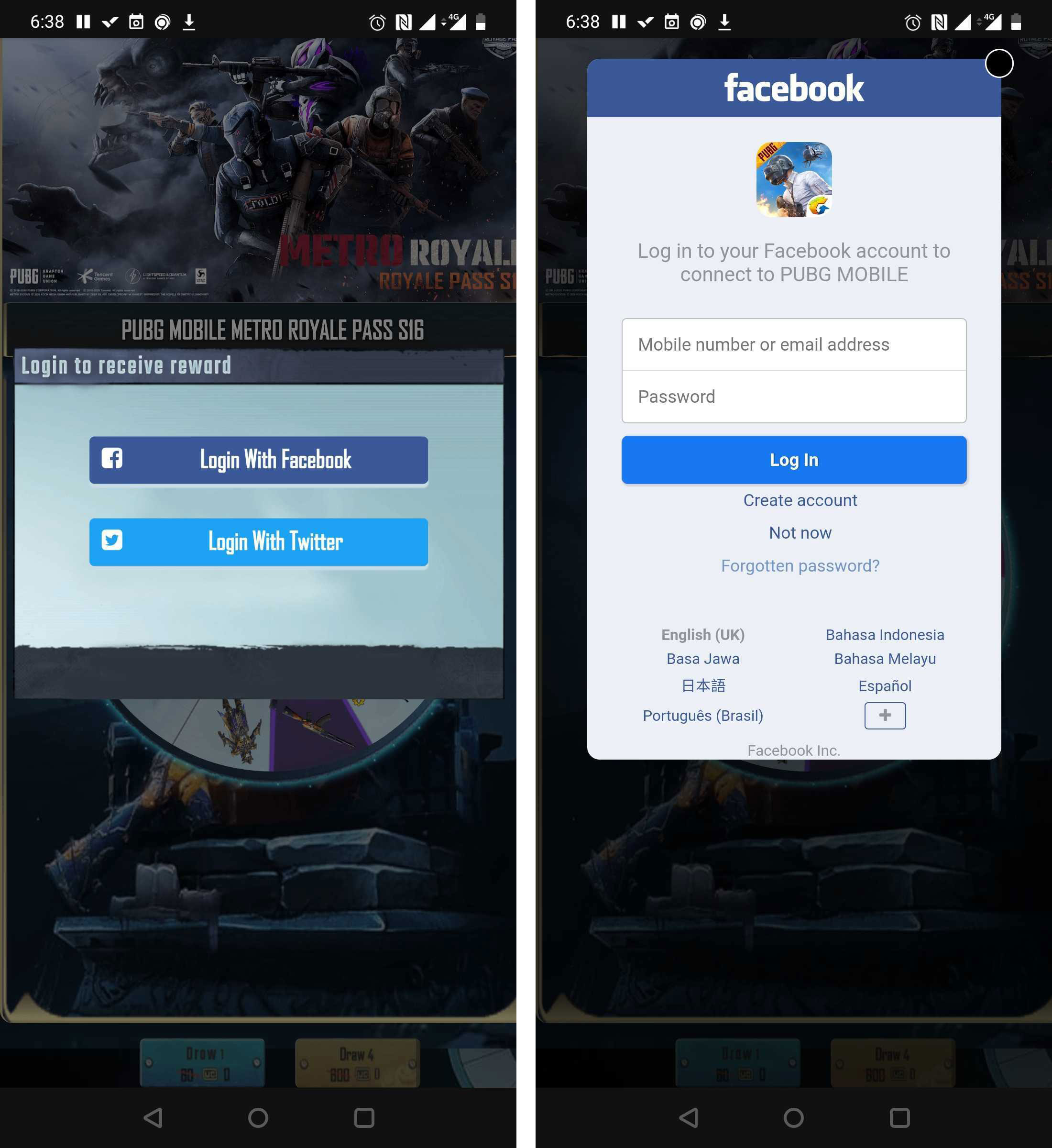 Phishing pages with Twitter or Facebook login — a familiar option for PUBG Mobile players