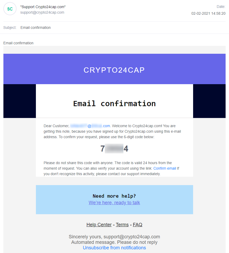E-mail with registration confirmation code