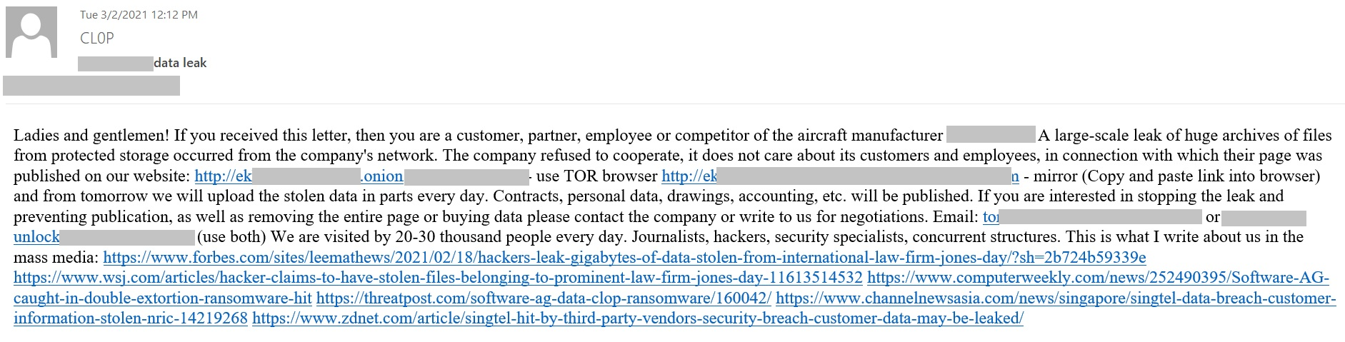 The attackers' e-mail to employees, clients, partners, and competitors.
