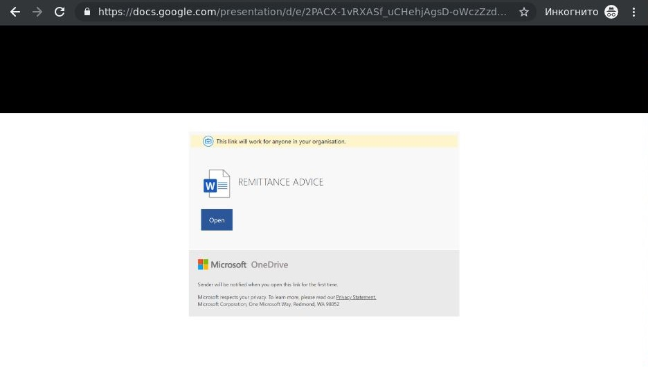 A Google Docs presentation that looks more like OneDrive's interface
