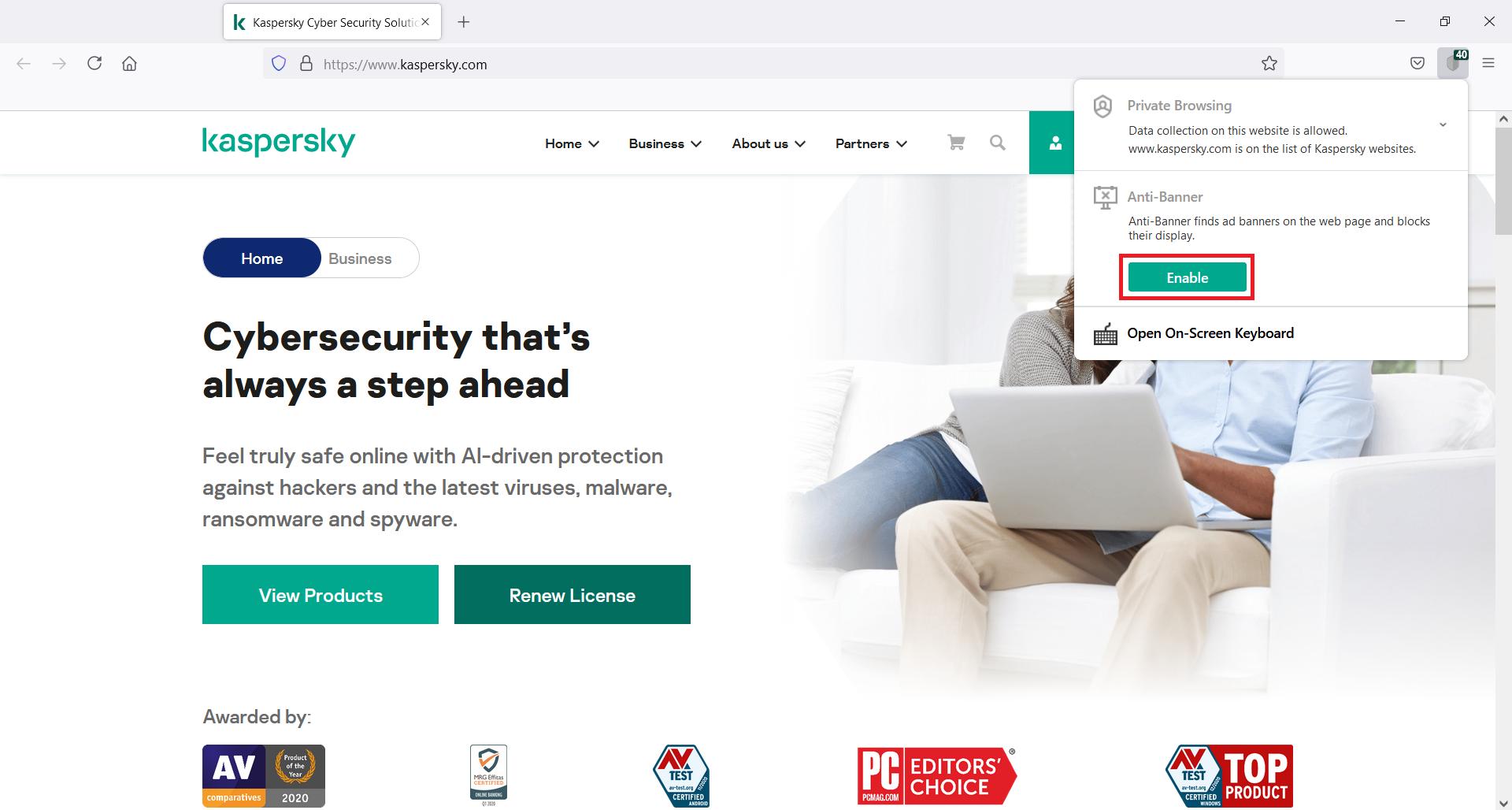 Enabling Anti-Banner in Kaspersky Security Cloud through the Kaspersky Protection extension menu
