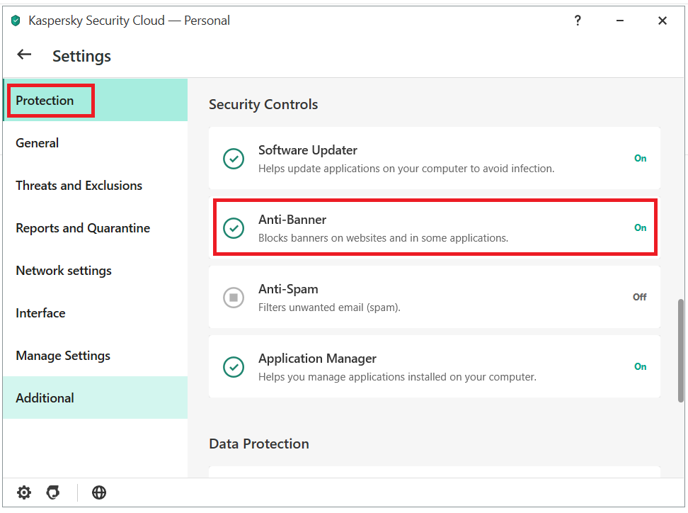 Enabling Anti-Banner in the Kaspersky Security Cloud main menu
