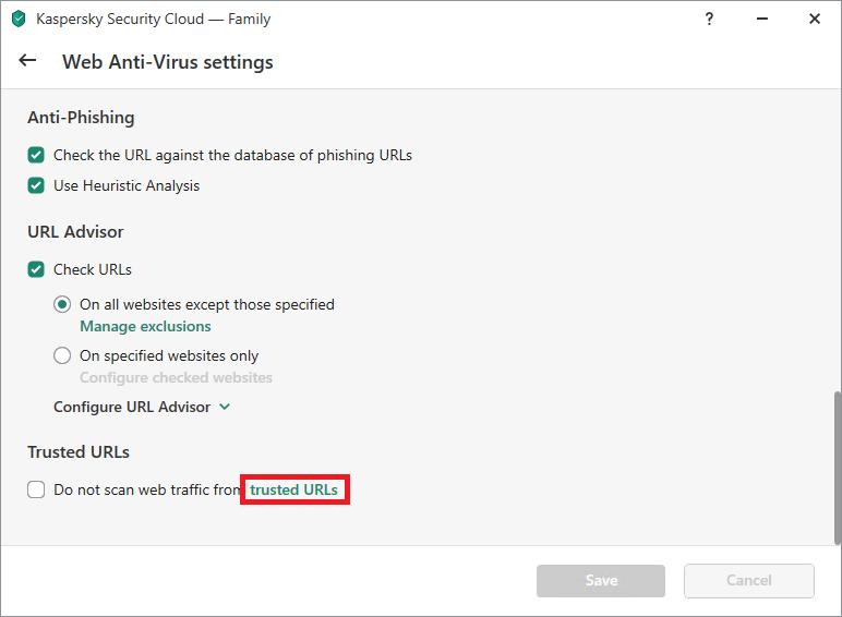 List of advanced Web Anti-Virus settings in Kaspersky Internet Security or Kaspersky Security Cloud
