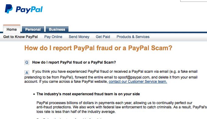 Reporting Fraud to PayPal
