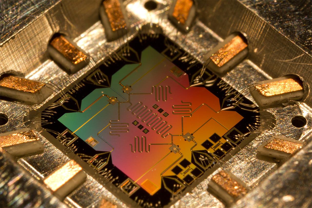 Four qubit chip. Photo by Eric Lucero, Martinis Group, University of California, Santa Barbara