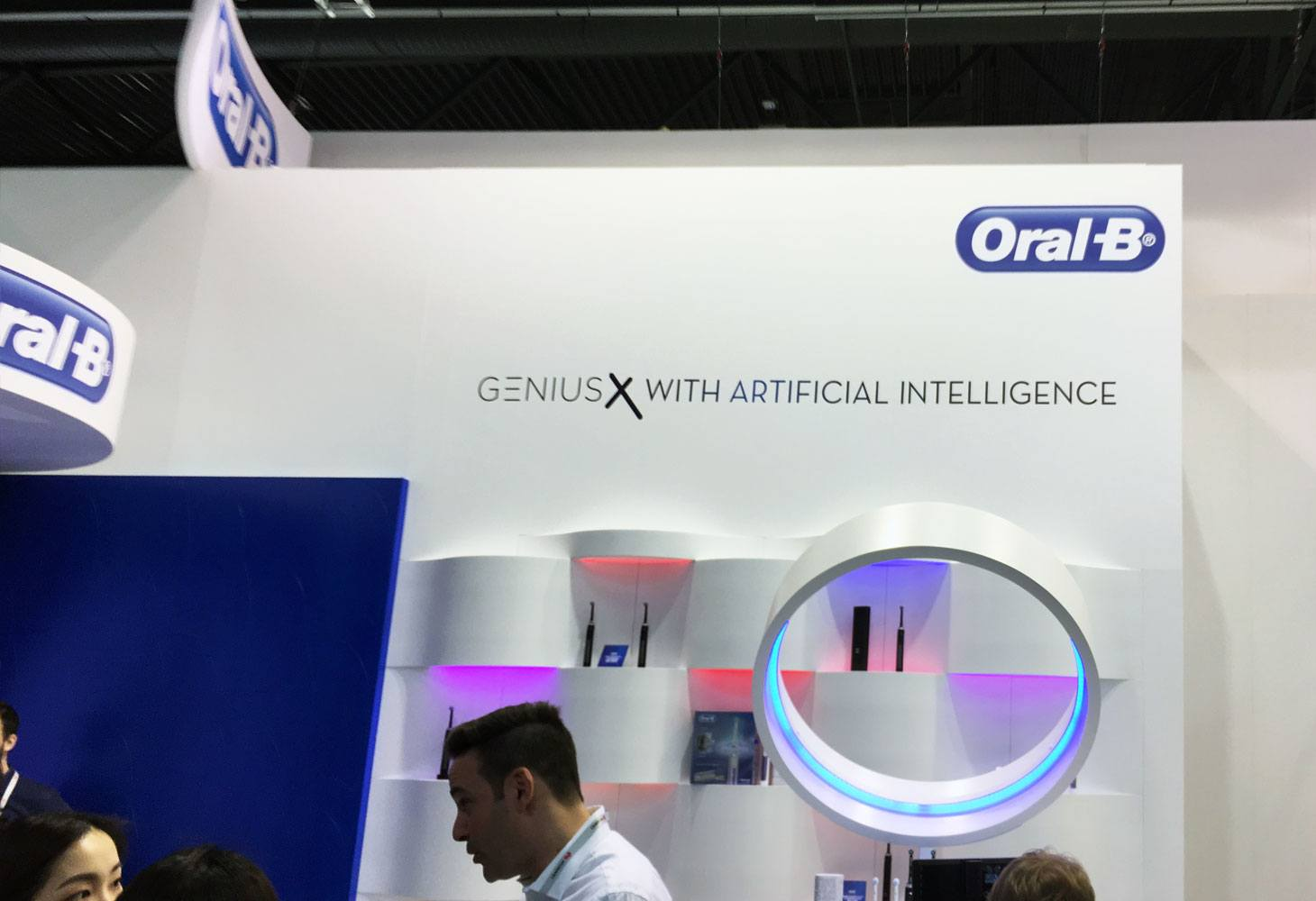 Oral-B display at Mobile World Congress 2019 featuring the Genius X with Artificial Intelligence toothbrush