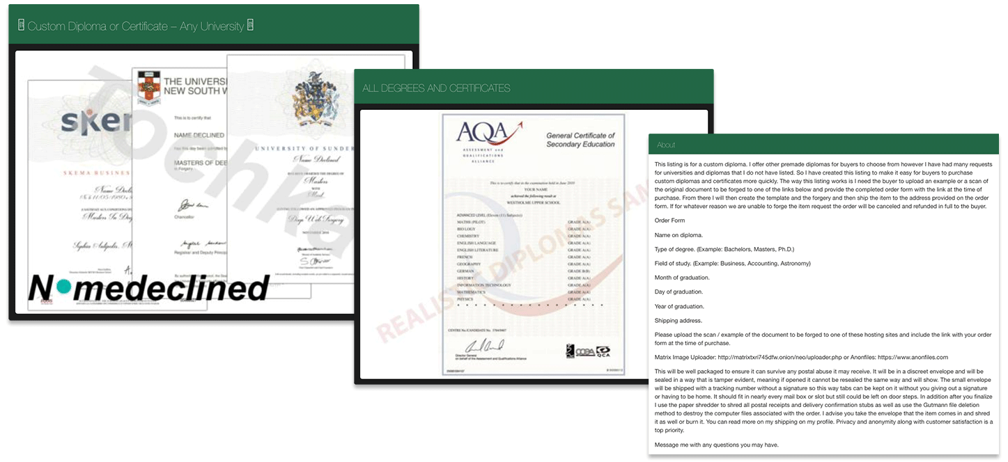 An online black market that sells certificates and diplomas of different institutions