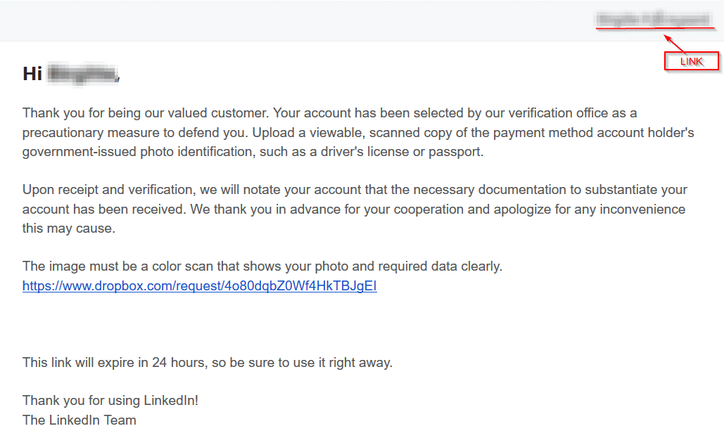 Why would LinkedIn ask for a photo upload to Dropbox? That's scammers