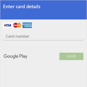 A fake — and unfortunately very convincing — window for entering bank card data, displayed in what appears to be the Play Store app