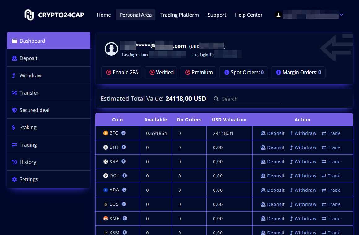 What the fake cryptocurrency exchange Crypto24cap looks like