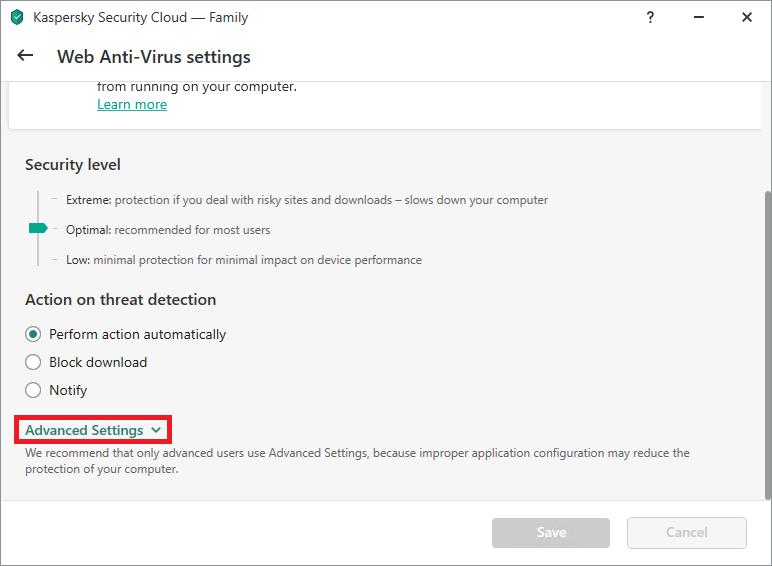 Web Anti-Virus settings in Kaspersky Internet Security or Kaspersky Security Cloud