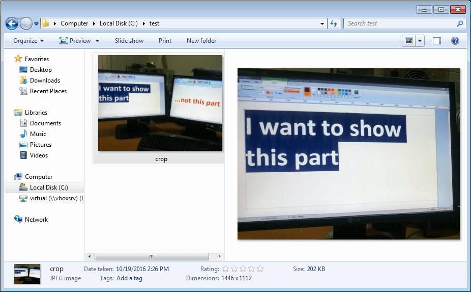 Left: The file thumbnail Windows Explorer takes from metadata. Right: File preview. The file was just created, so it's not a result of the OS caching thumbnails