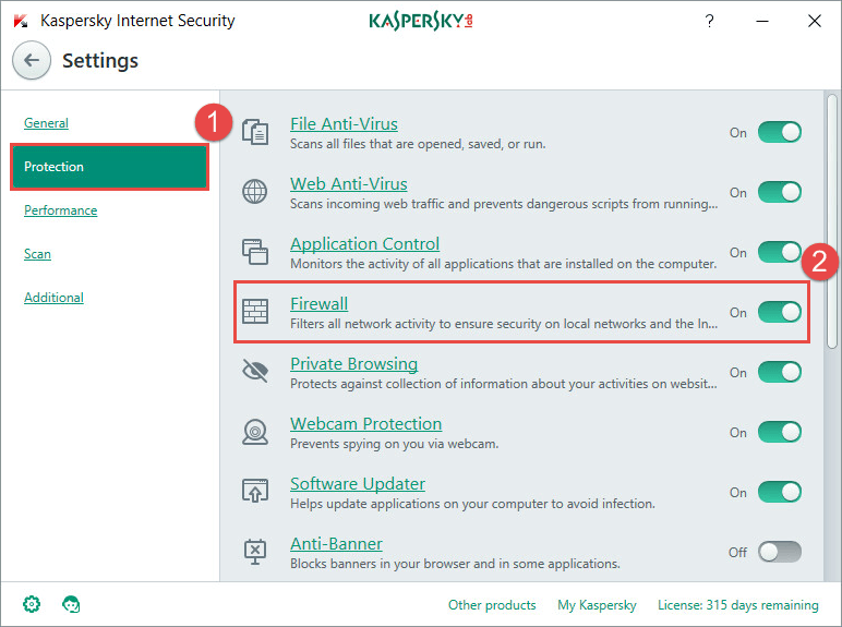 Kaspersky Internet Security Firewall
