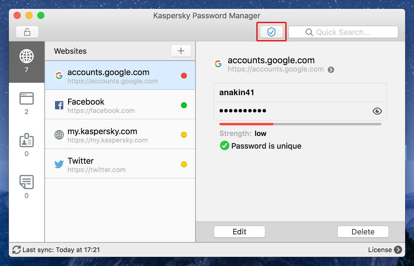 Kaspersky Password Manager: Check password security