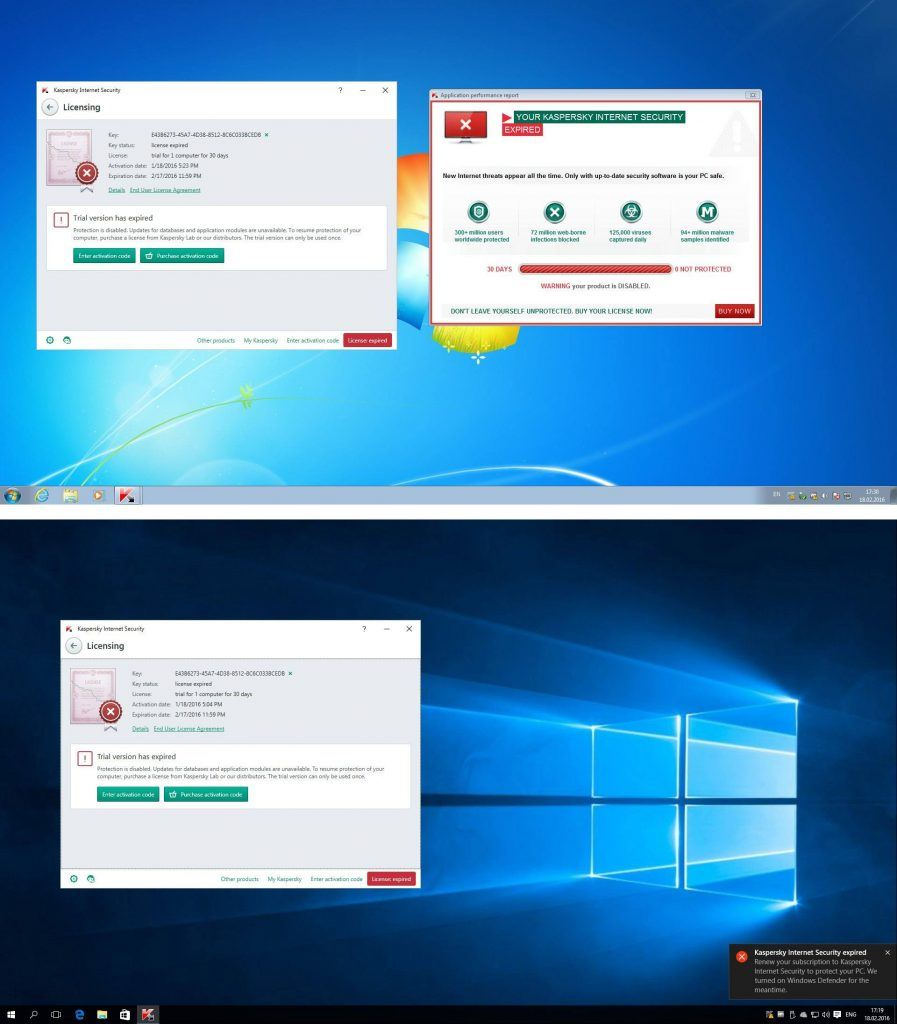 Notification about expiry of security solution license in Windows 7 (top) and in Windows 10 (bottom)