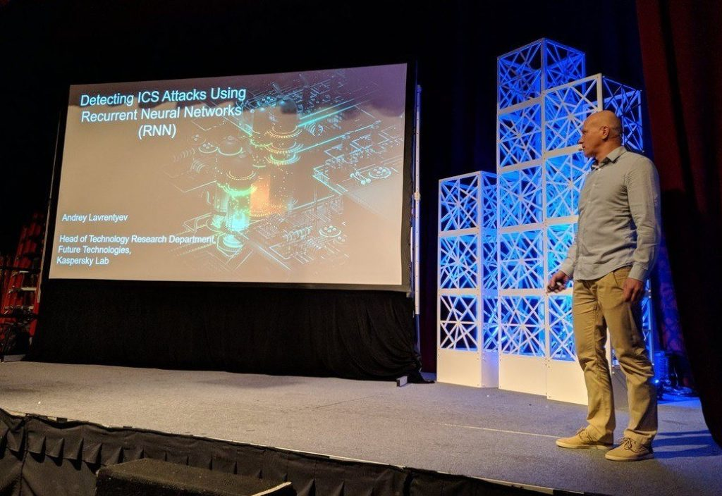 "Andrey Lavrentyev presenting ""Detecting ICS Attacks Using Recurrent Neural Networks"" at S4x18 conference"