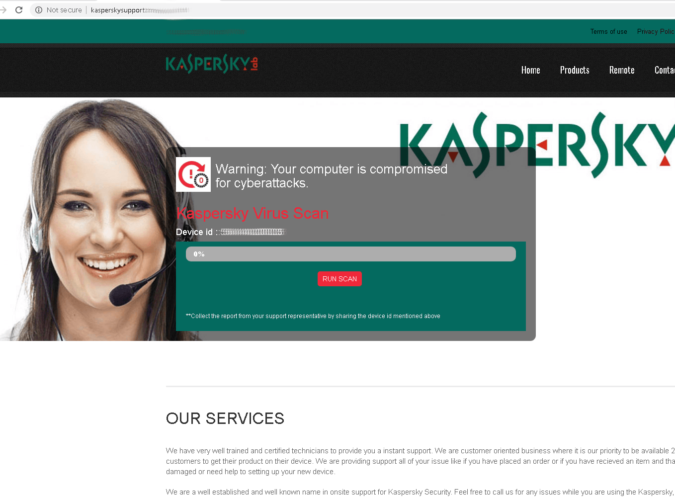 A fake virus scan on a fake Kaspersky Lab technical support site