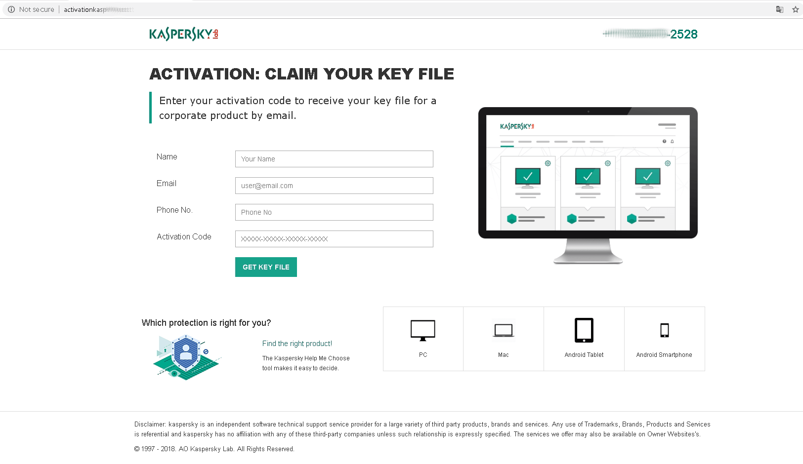 This fake Kaspersky Lab support website prompts for the user's antivirus activation code