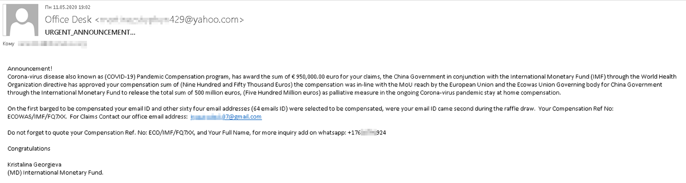Scammers promise their victim €950,000 in compensation