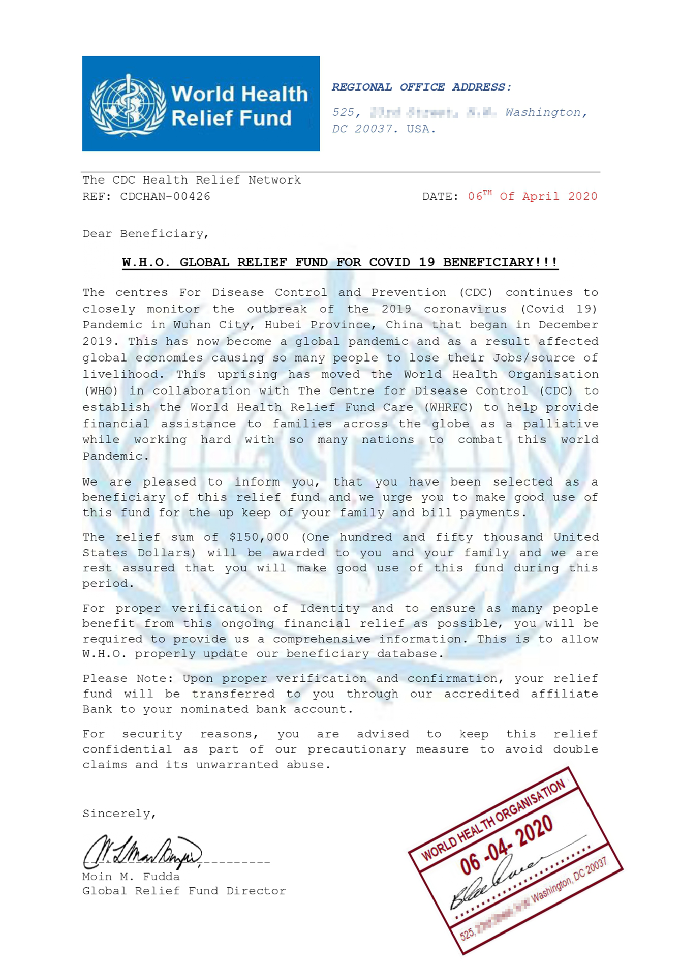 """""""Official"""" notification of compensation from the WHO"""