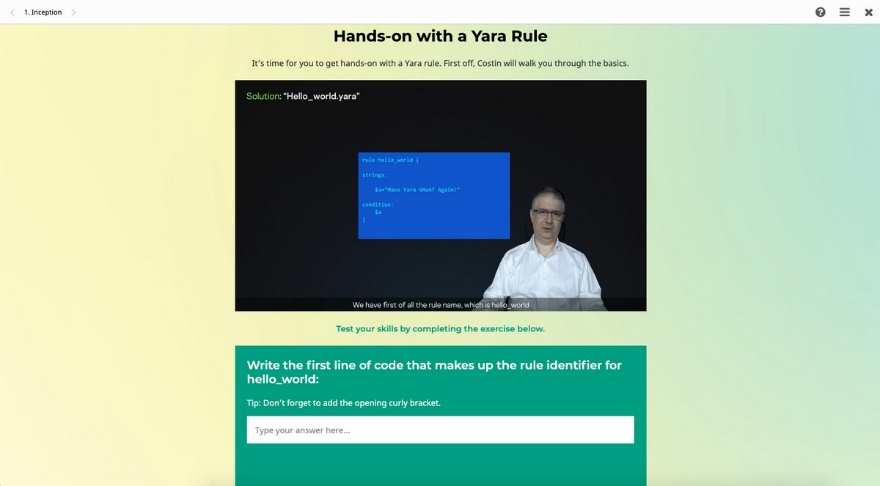 Cybersecurity online training: Hands-on with a YARA rule
