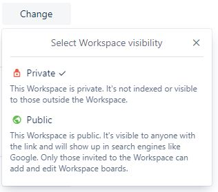 Trello workspace visibility settings