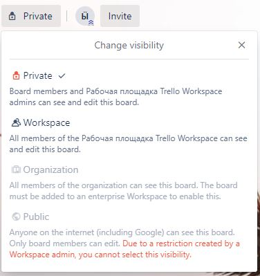 Trello board visibility settings