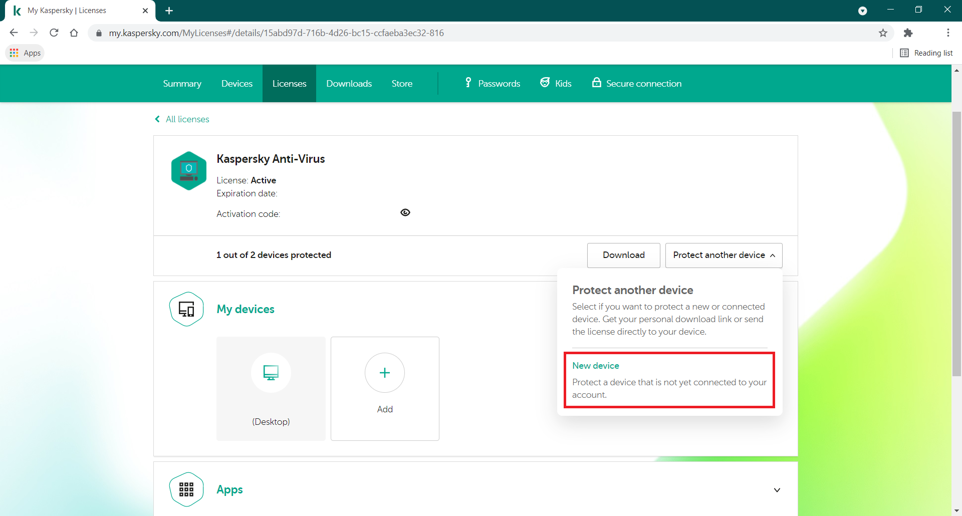 How to use My Kaspersky to send a license to a new device