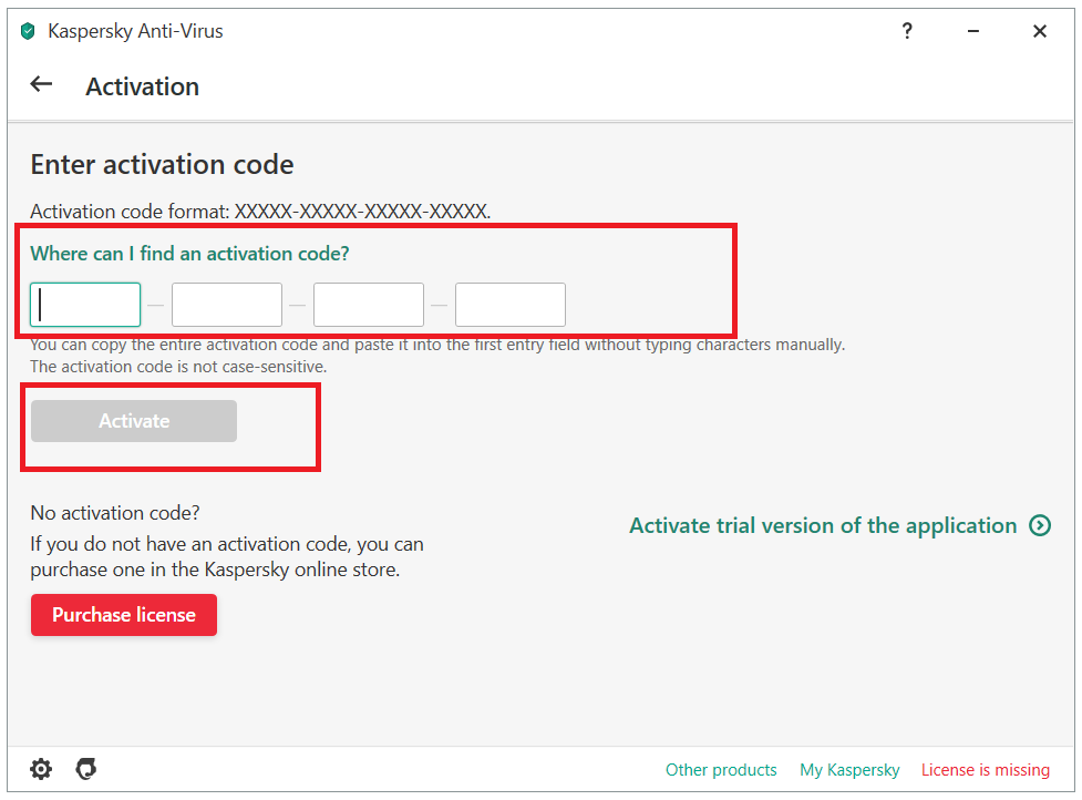 How to add a license on a new device using an activation code