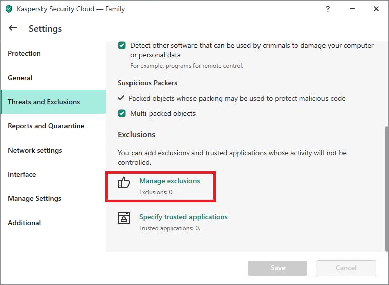 Exclusion settings in Kaspersky Internet Security, Kaspersky Total Security, and Kaspersky Security Cloud