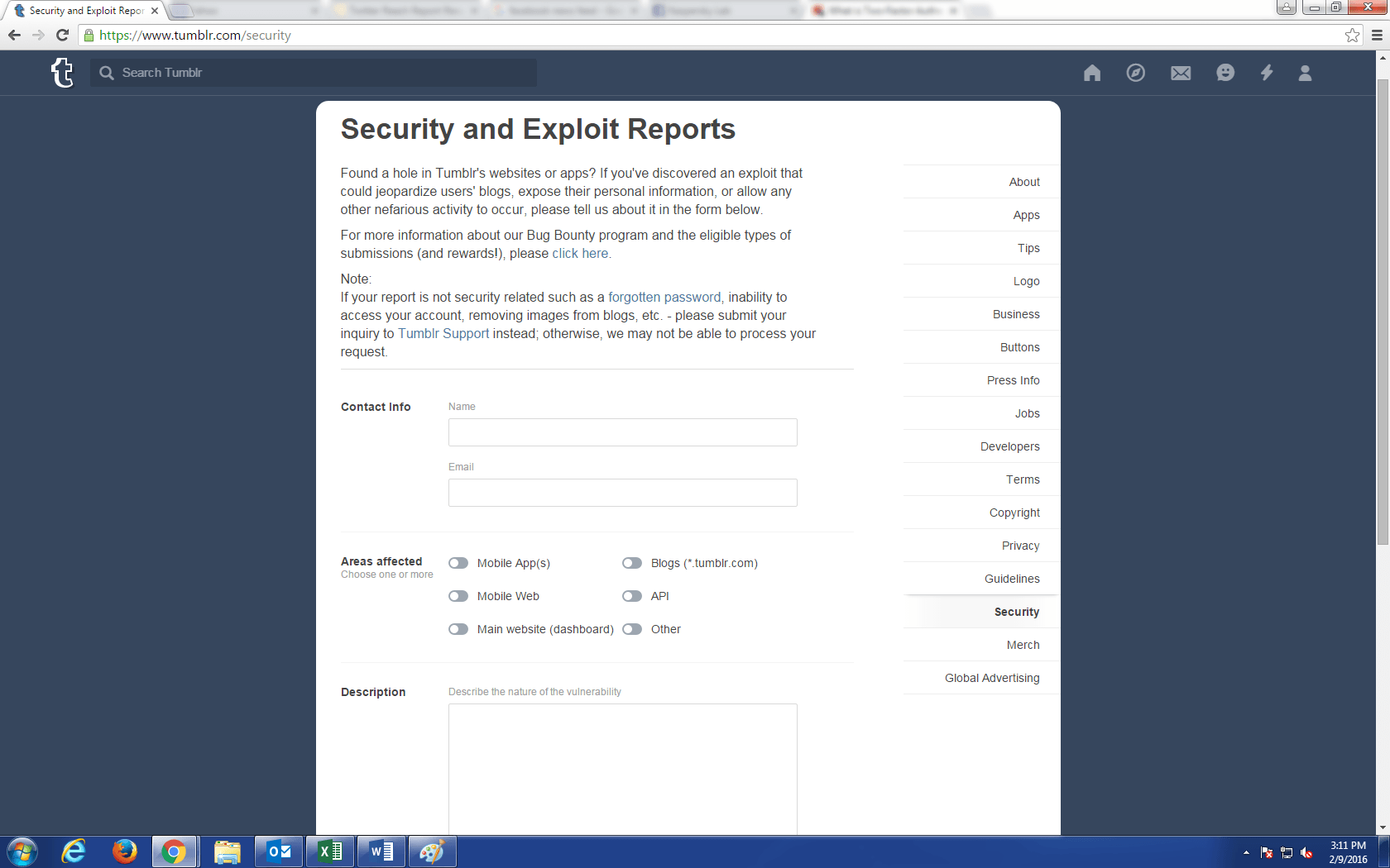 Tumblr security page screenshot