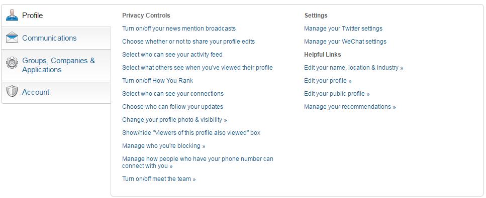 LinkedIn Privacy settings screenshot