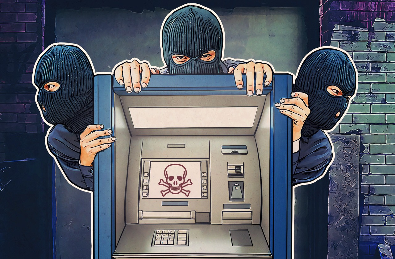 Thief. Hacker stealing money from atm machine. Stock vector.