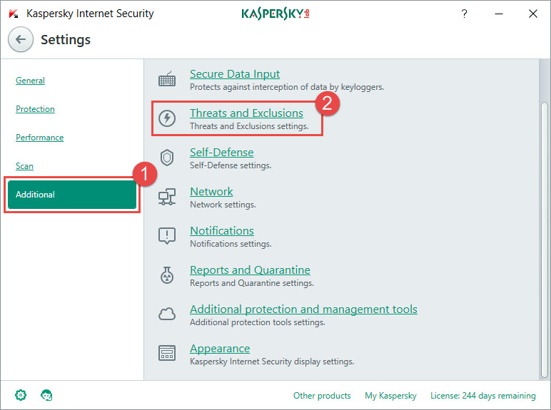 How to add an application to exclusions in Kaspersky Internet Security