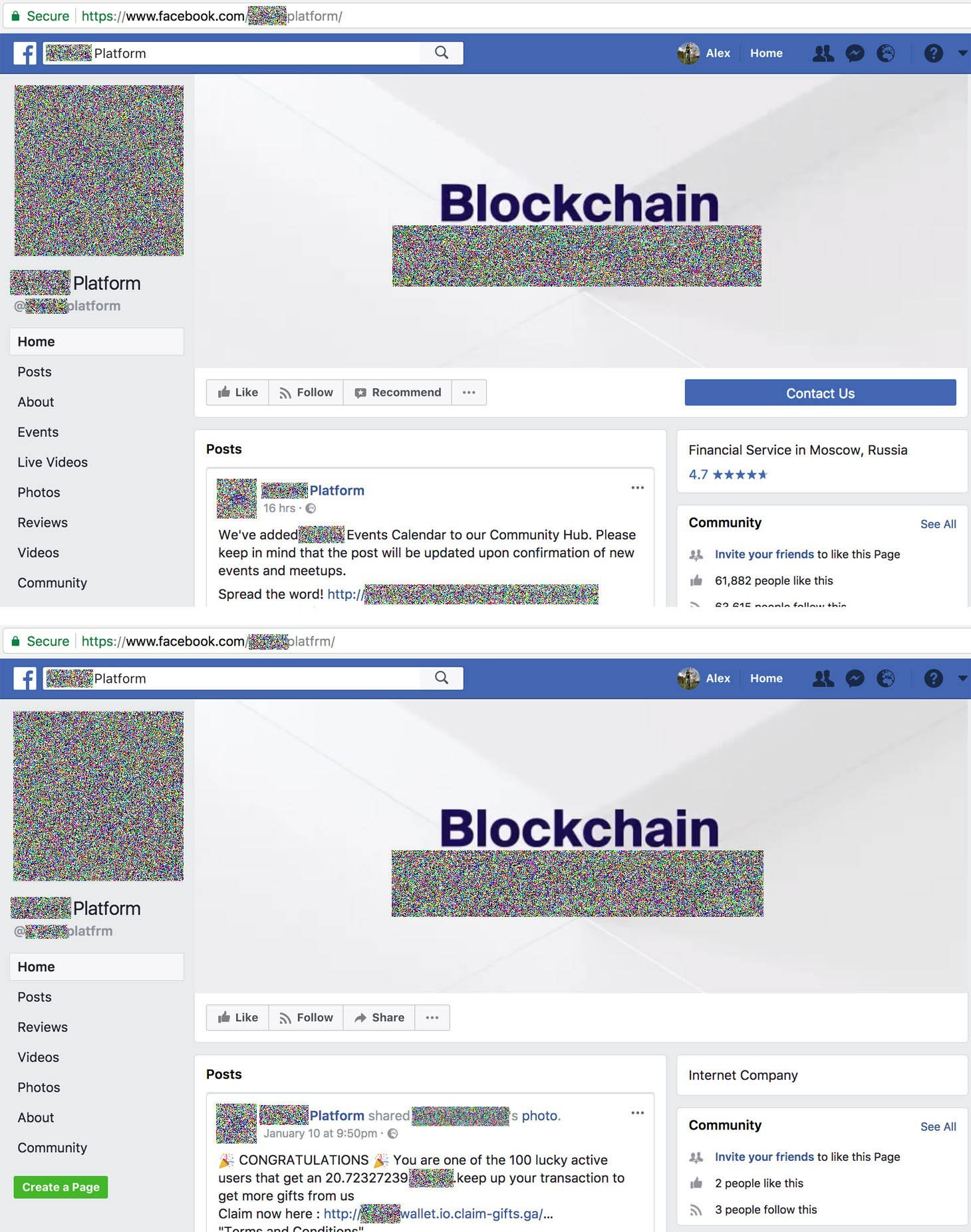 The genuine Facebook page of a cryptoplatform — and a fake one
