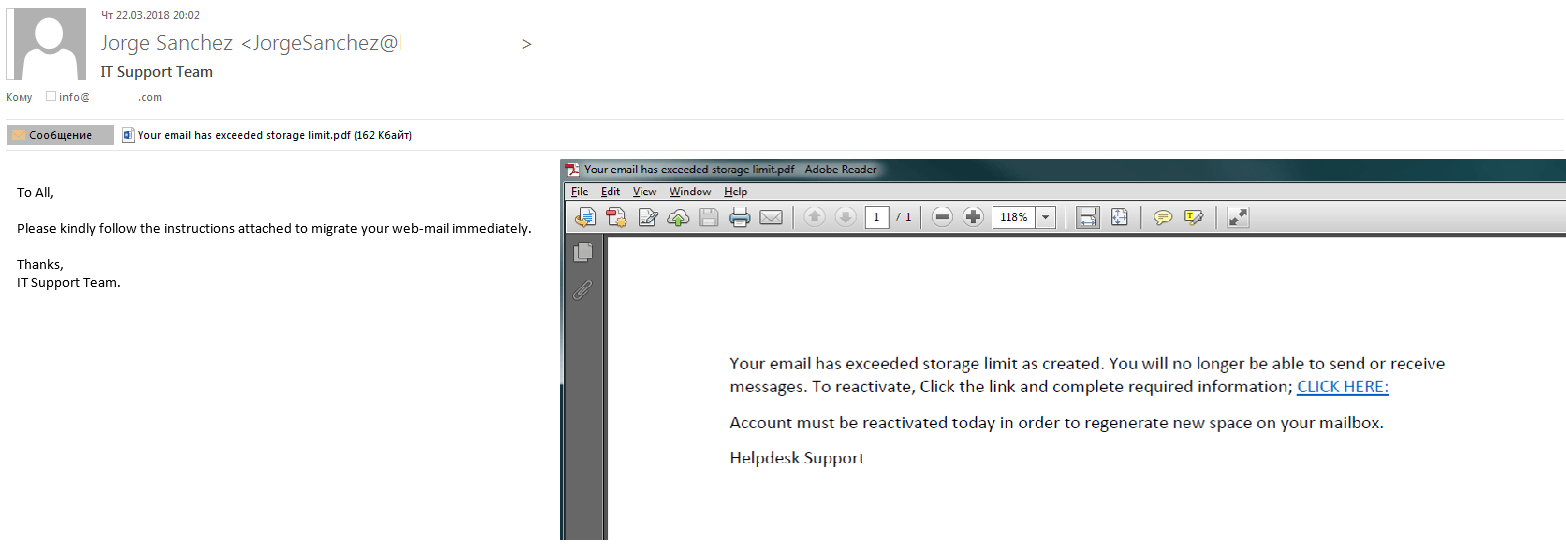 Example of a phishing letter with a PDF attachment