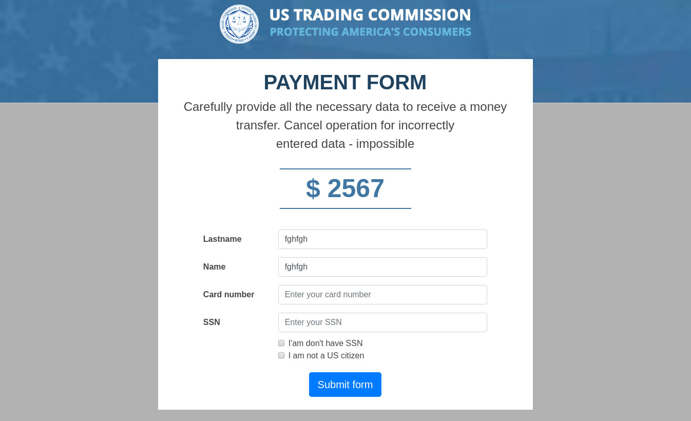 Form for entering a card number and SSN