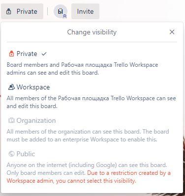 Trello board visibility settings