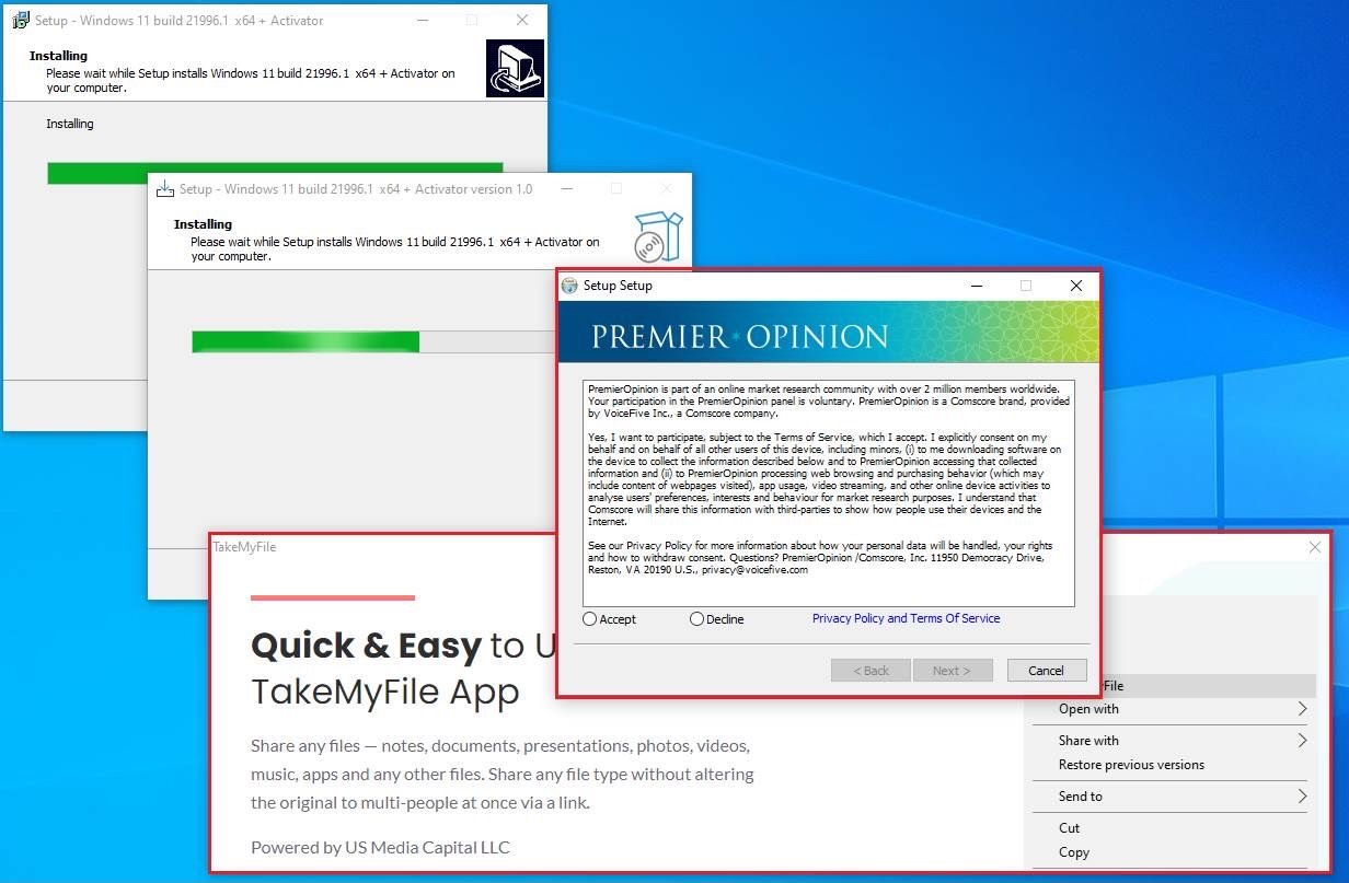 The second executable is an installer as well, and it even comes with a license agreement (which few people read) calling it a