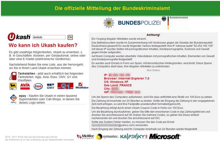 Tipo de notificación Ransomware haciéndose pasar por la Policía Federal Alemana