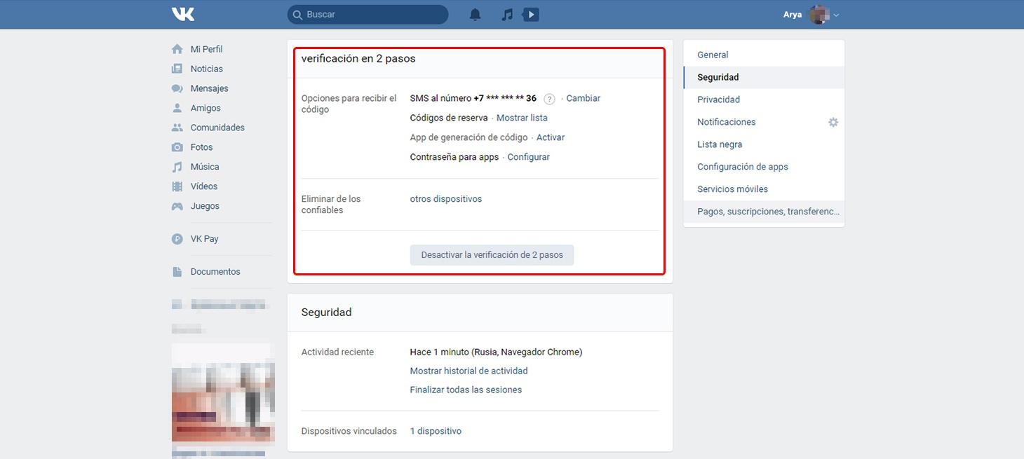 Configuración de VK: las opciones de verificación en dos pasos.