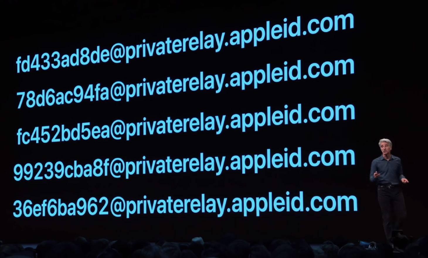 Ejemplos de direcciones de correo electrónico que Sign In with Apple generó aleatoriamente.
