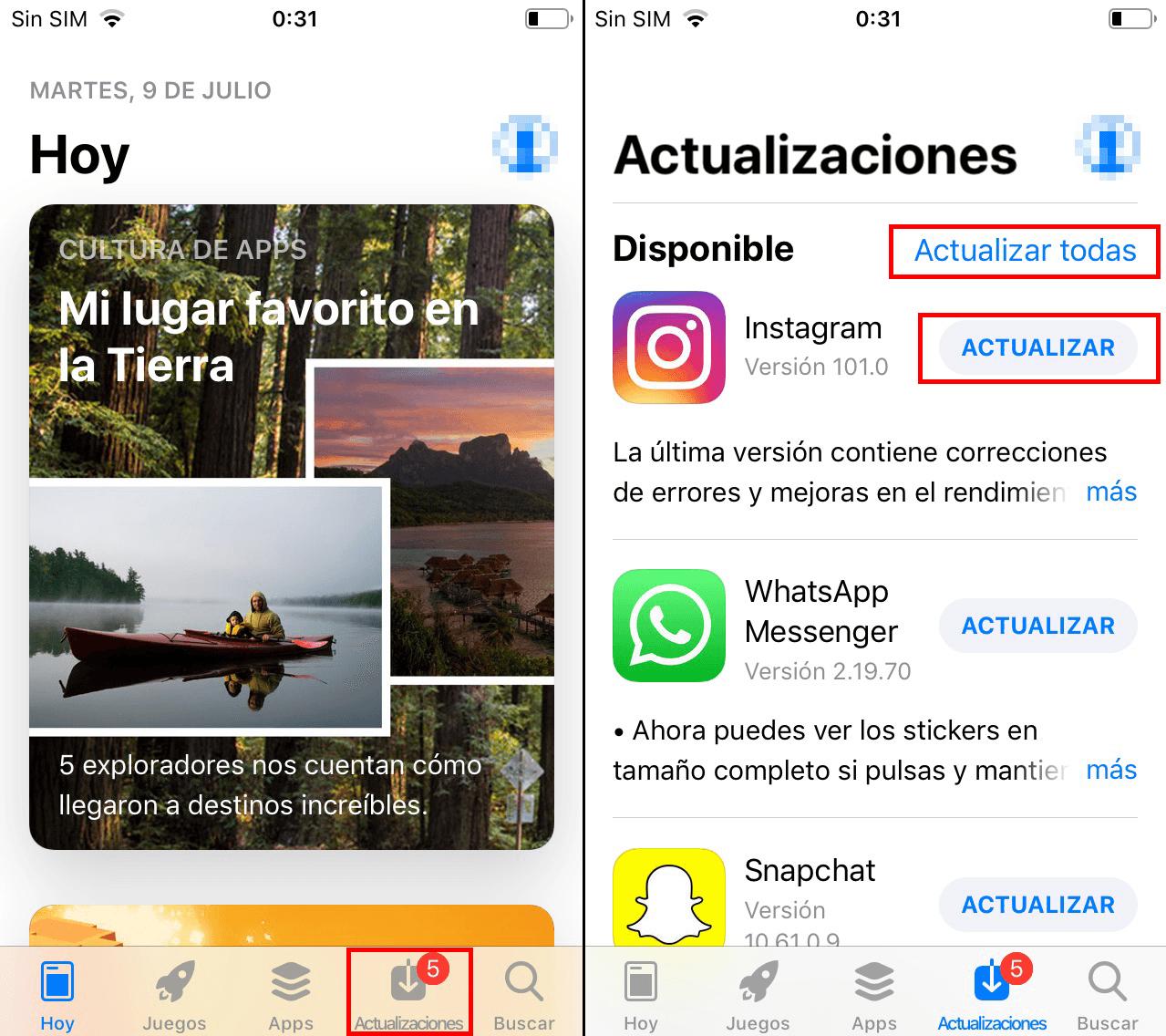 Cómo actualizar manualmente aplicaciones en iOS.
