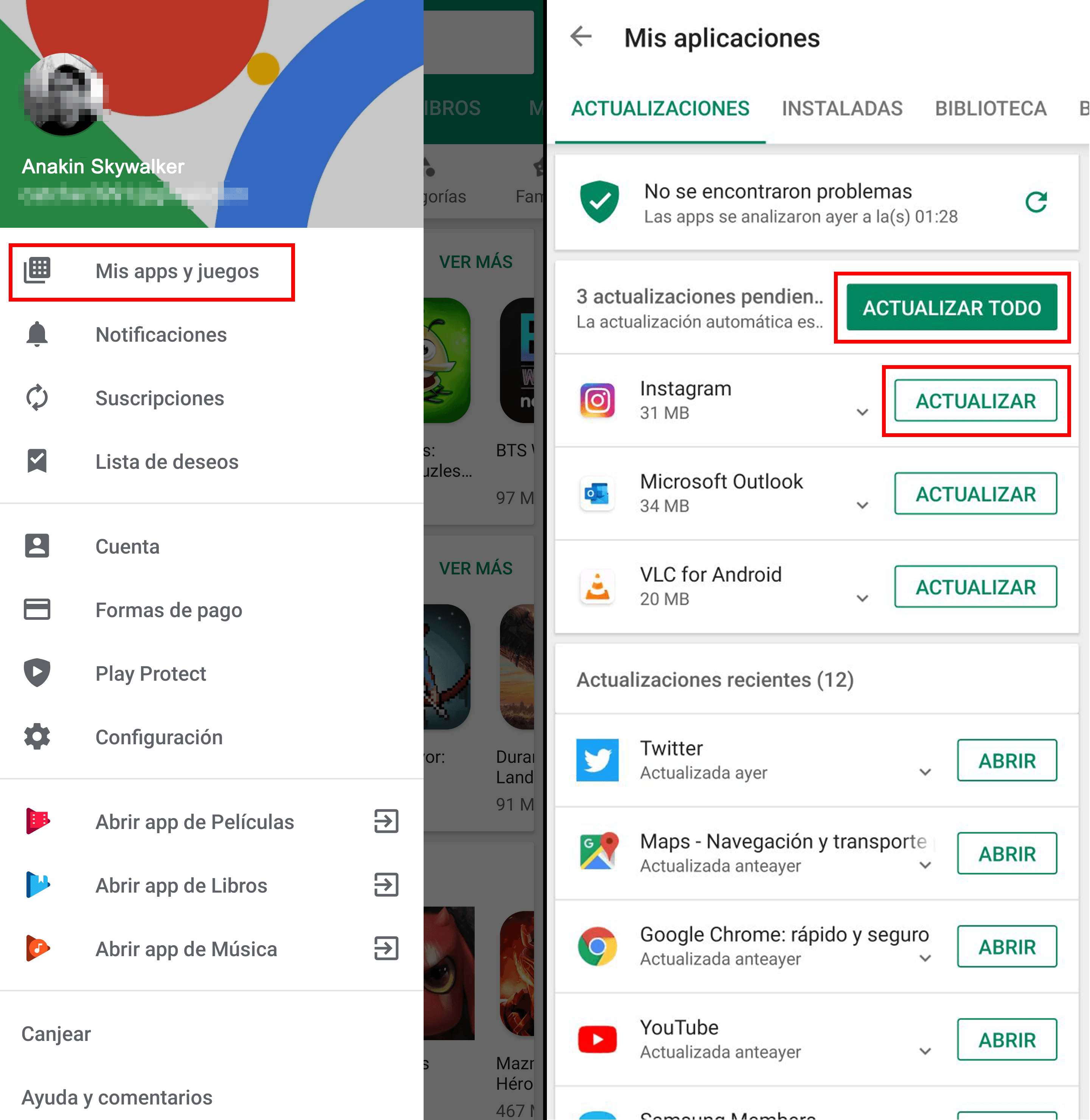 Cómo actualizar manualmente aplicaciones en Android.