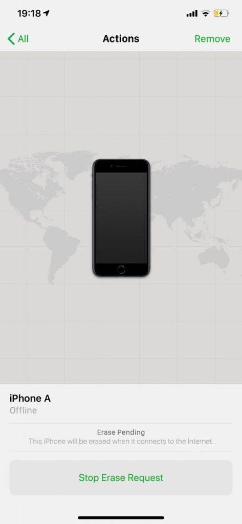 """La función """"borrar iPhone"""" en pendiente en la aplicación Buscar mi iPhone."""