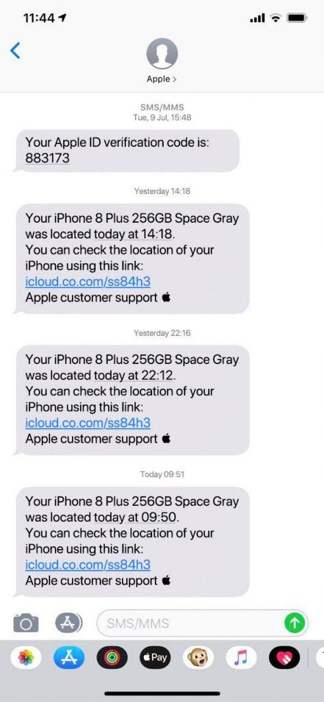 Otros mensajes de phishing que se hacen pasar por Buscar mi iPhone.