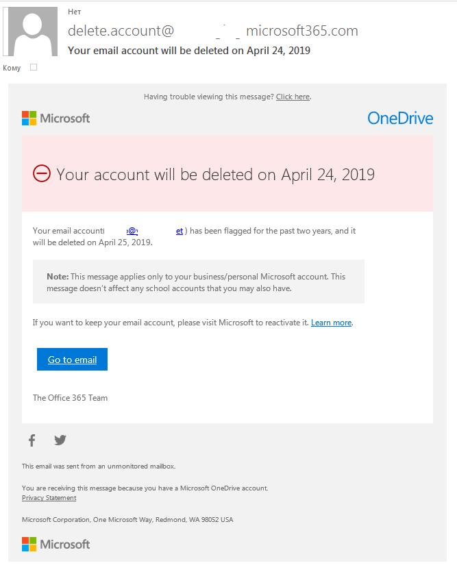 Ejemplo de un correo de phishing para advertir sobre la eliminación inminente de la cuenta.