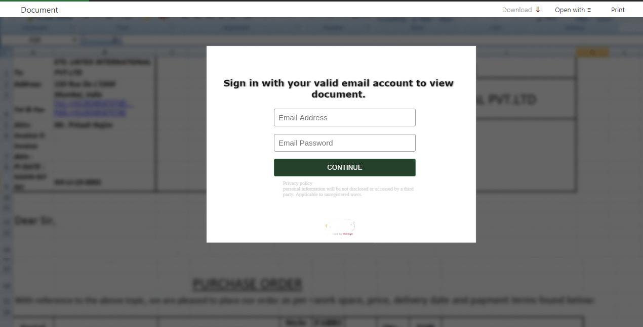 Ejemplo de un sitio web de suplantación de identidad (phishing) que insta al visitante a iniciar sesión para visualizar un documento.