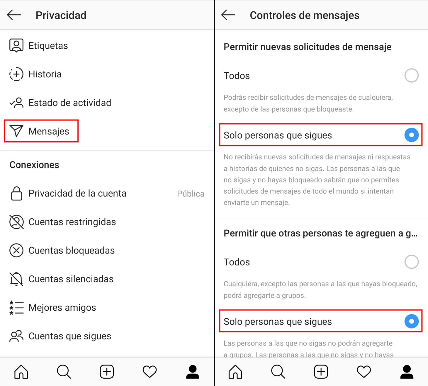 Cómo bloquear el spam en los mensajes directos de Instagram y evitar los grupos aleatorios.